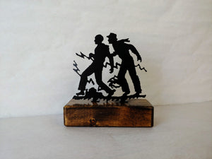 Hardy Boys Metal Silhouette & Wood Shelf Decor
