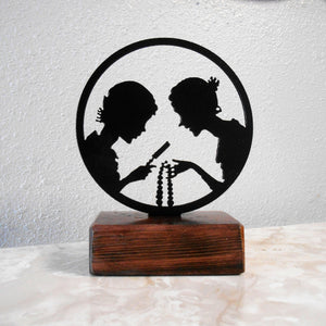Dana Girls Metal Silhouette & Wood Shelf Decor