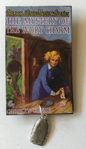 Nancy Drew Book Cover Ivory Charm Pin or Ornament