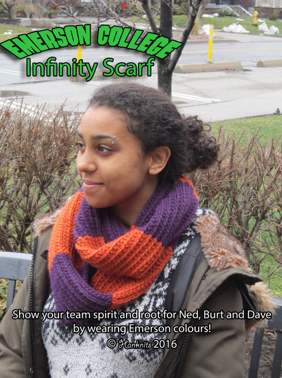 Nancy Drew - Emerson College Infinity Scarf Knitting Pattern