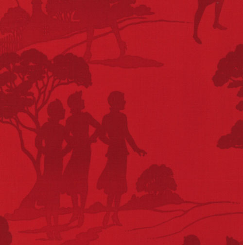 Nancy Drew Get a Clue Moda Fabric FQ Red Endpapers
