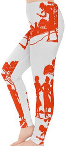 Nancy Drew Orange Silhouette Book Endpaper Leggings