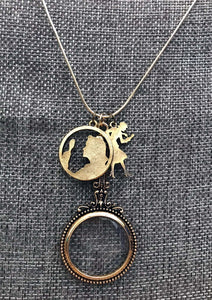 Nancy Drew Silhouette Magnifying Glass Necklace