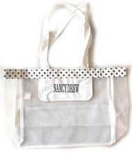 Load image into Gallery viewer, Nancy Drew White & Black Polka Dot Tote