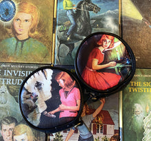 Load image into Gallery viewer, Nancy Drew Old Attic & Tolling Bell Round Case Wristlet