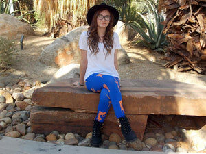 Nancy Drew Blue & Orange Silhouette Leggings