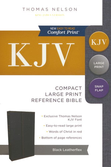 KJV Compact Reference Bible with Snapflap, Large Print, Leather-Look, Black