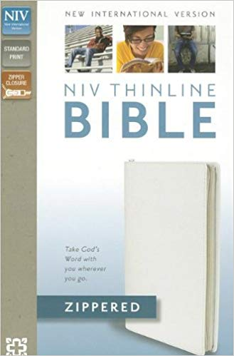 NIV, Thinline Zippered Collection Bible, Bonded Leather, White, Red Letter Edition Bonded Leather