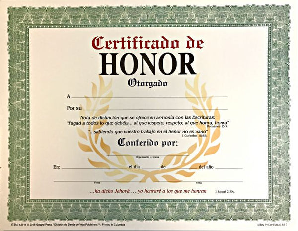 CERTIFICADO DE HONOR   Pk