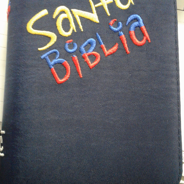 Biblia Tamano Ideal Tela Azul Bordada a Color con Cierre RVR 1960