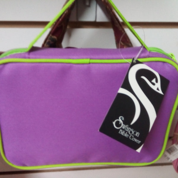 Swanson Bible cover. Purple and green