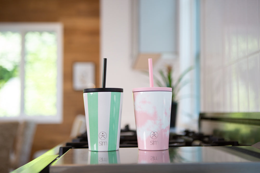 Kids Classic Tumbler with Lid and Straw - Ocean Candy Stripes