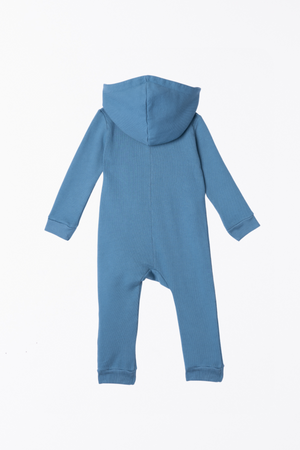 Load image into Gallery viewer, Lush Asymmetric Zip Hooded Romper - Dusty Navy