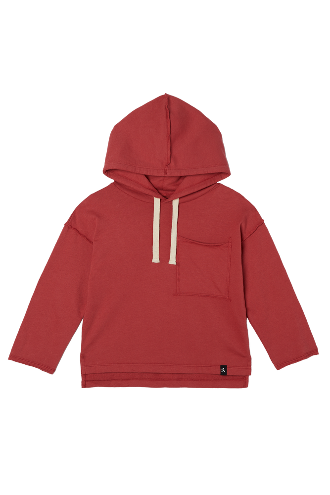 Drop Shoulder Hooded Pullover - Crimson