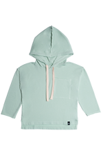 Drop Shoulder Hooded Pullover - Ocean