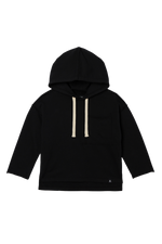 Drop Shoulder Hooded Pullover - Black