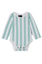 Long Sleeve Onesie - Ocean Candy Stripes
