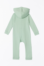 Lush Asymmetric Zip Hooded Romper - Ocean
