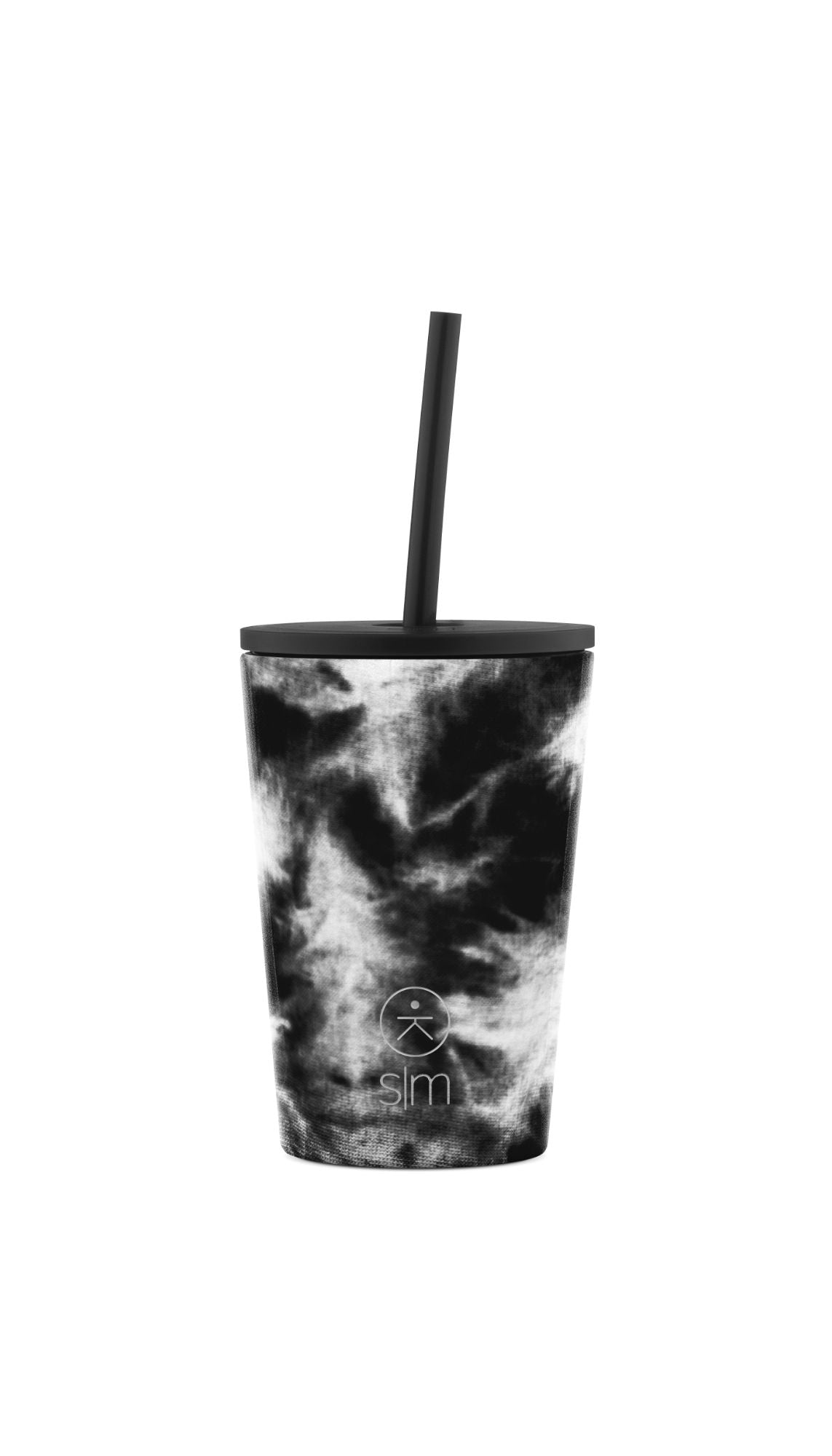 Kids Classic Tumbler with Lid and Straw - Black Tie Dye
