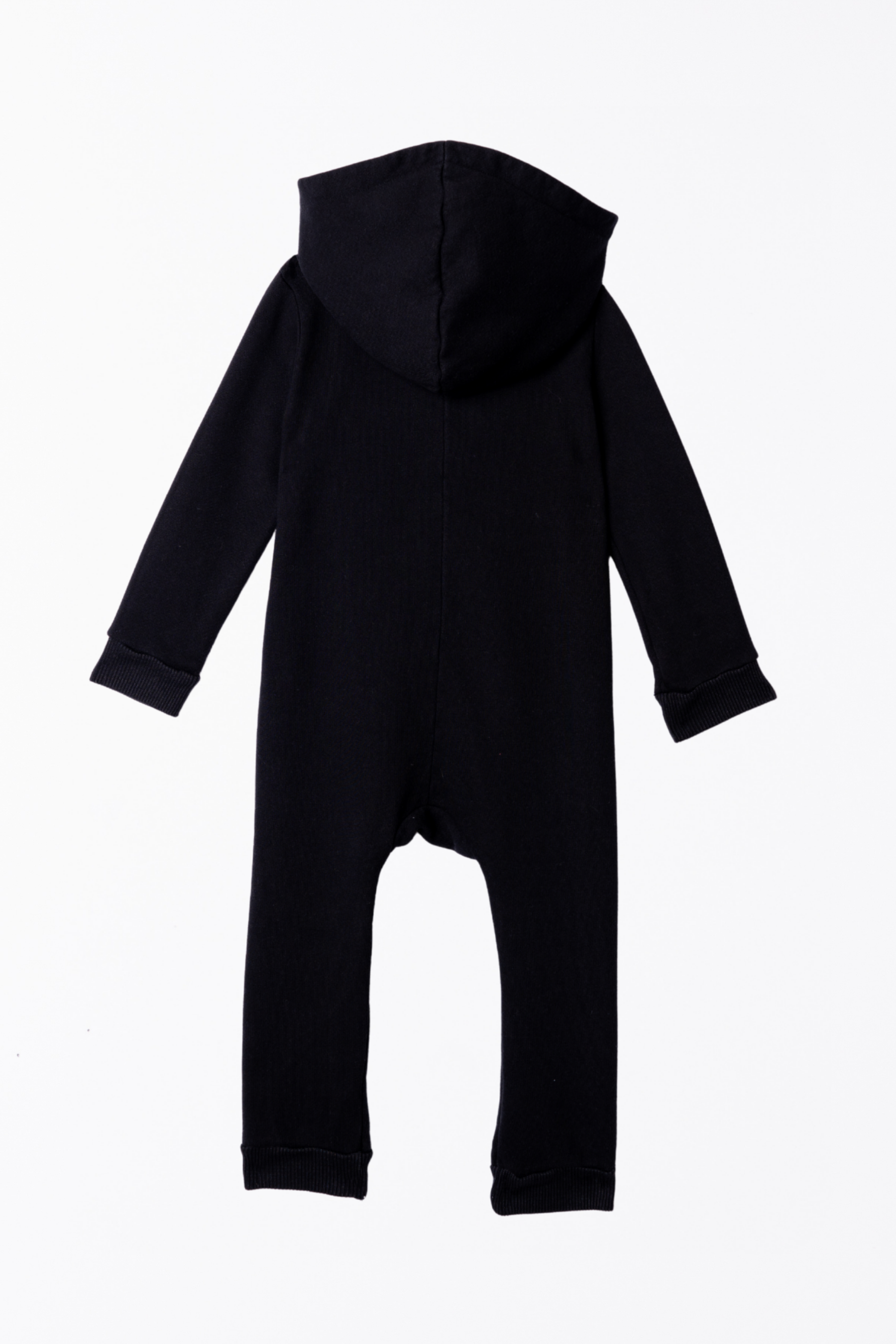 Lush Asymmetric Zip Hooded Romper - Black