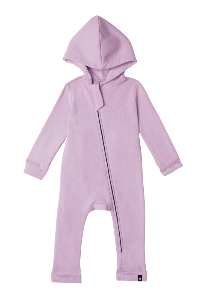 Lush Asymmetric Zip Hooded Romper - Lilac