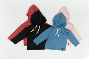 Load image into Gallery viewer, Drop Shoulder Hooded Pullover - Crimson
