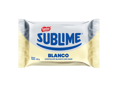 Sublime white chocolate 40 grs - box 12 und