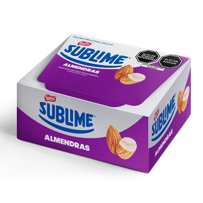Sublime chocolate with almonds 50grs - box 10 und