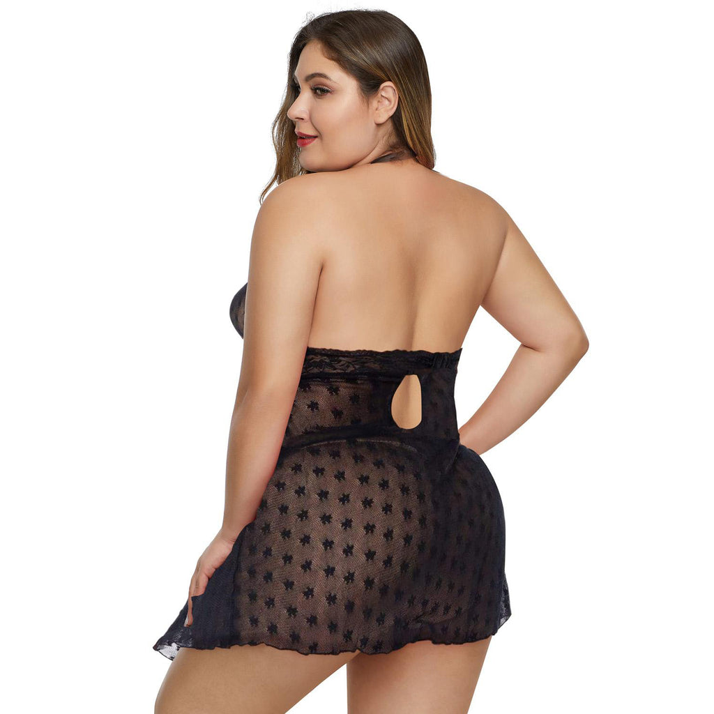 Black Plus Size Open Back Halter Mesh Babydoll