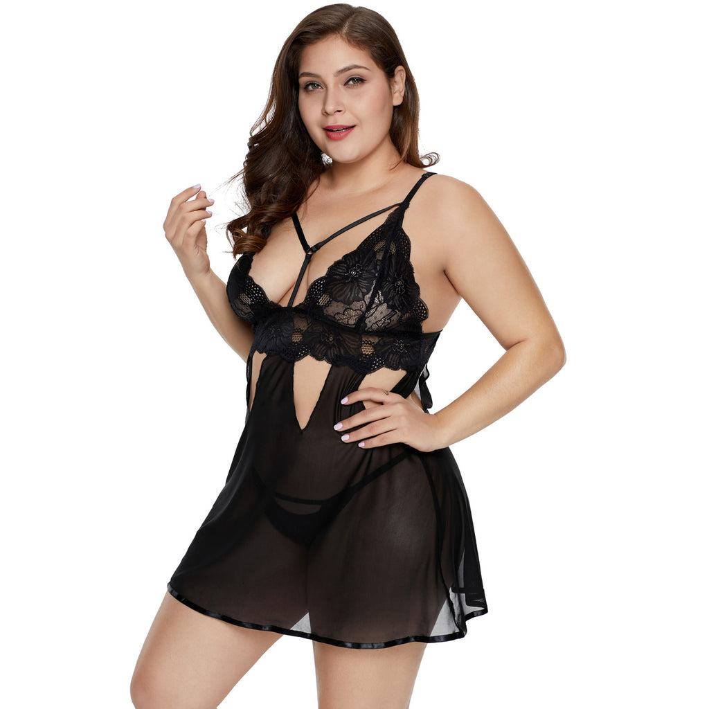 Purple Plus Size Eye-catching Babydoll Set