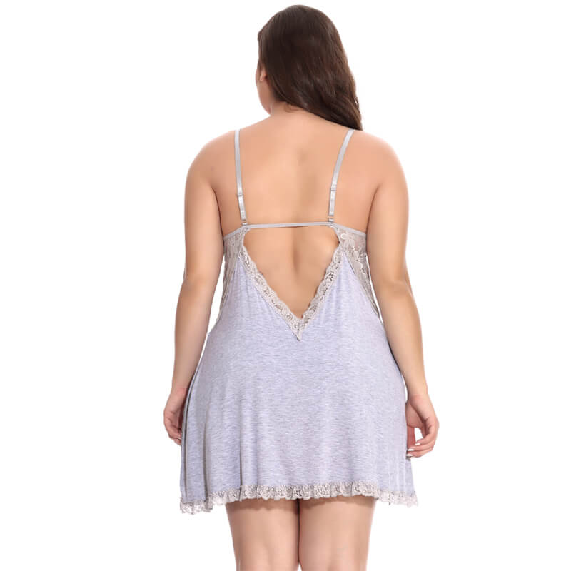 Fashion Lace Underwear Bow V-Collar Lace Nightgown Back Underwear