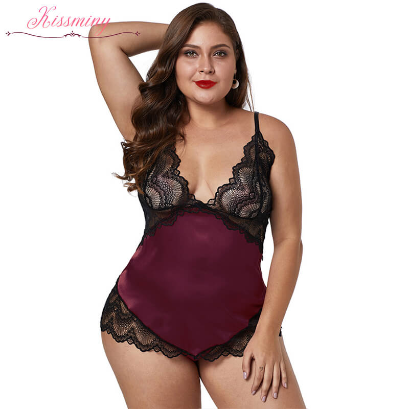 Red Lace Cups Silky Satin Plus Size Chemise