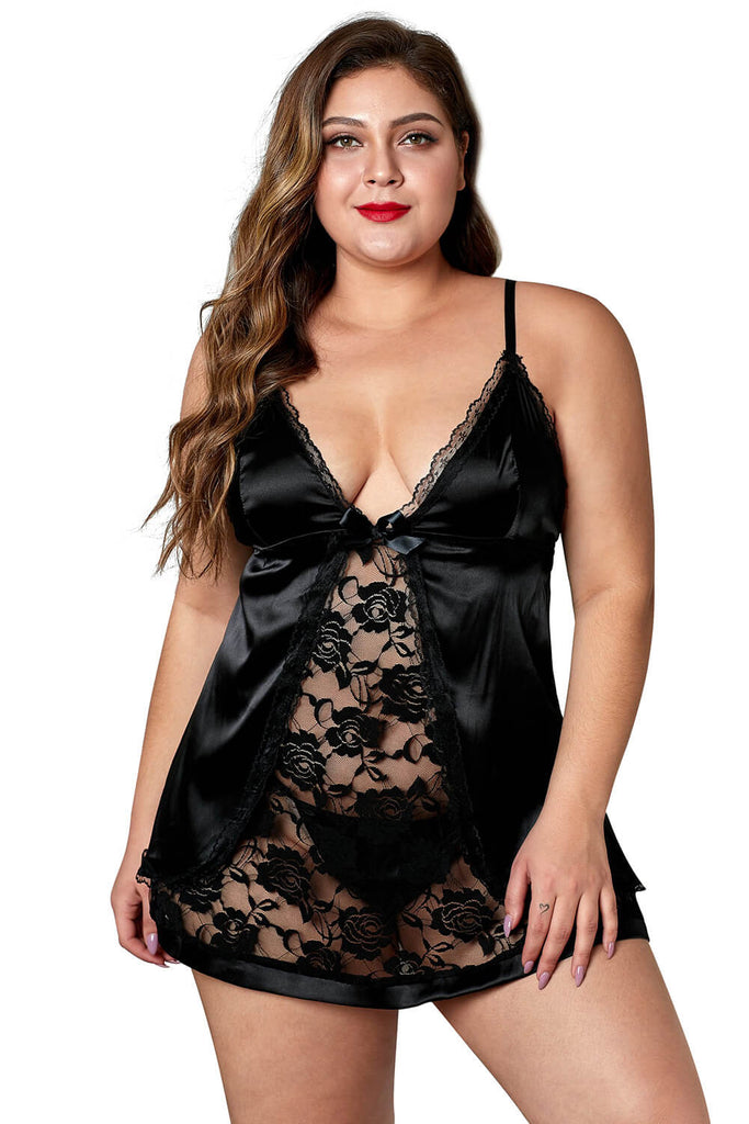Red Sexy Lace Deep V Plus Size Lingerie-Pre-sale! Delivery 5/15-note!
