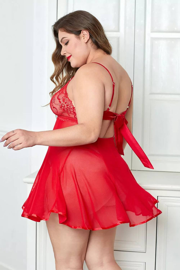 Red Push Up Lace Cup Sheer Plus Size Babydoll