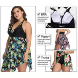Multicolor Print Lace up Plus Size Tanikini