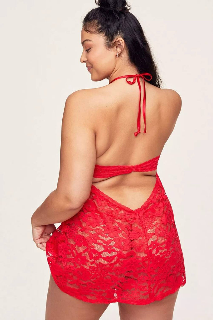 Red Plus Size Crisscross Hollow-out Floral Lace Babydoll