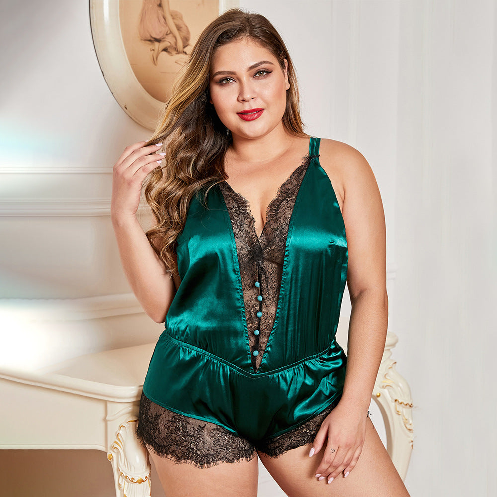 Green Plus Size Lace Detail V Neck Teddy Lingerie