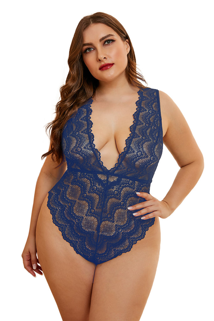 One-piece lace teddy underwear