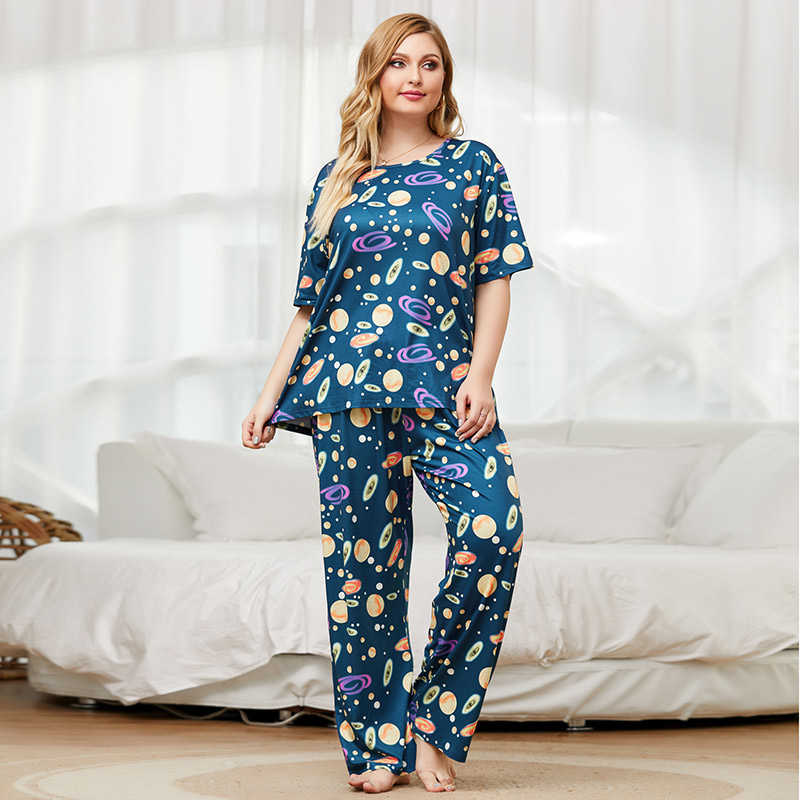 loose blue floral print T-shirt and long pants home wear two piece suits
