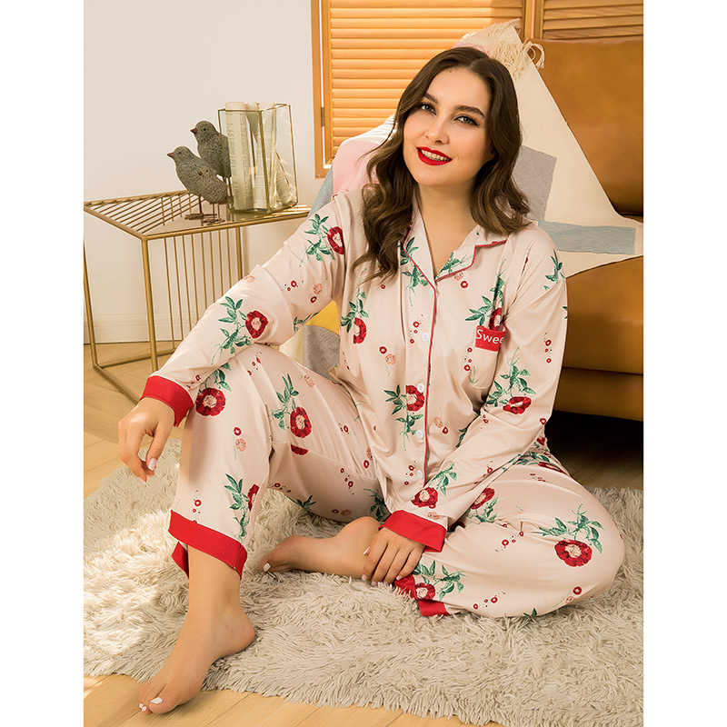 Suit printed comfortable loose long sleeve trousers