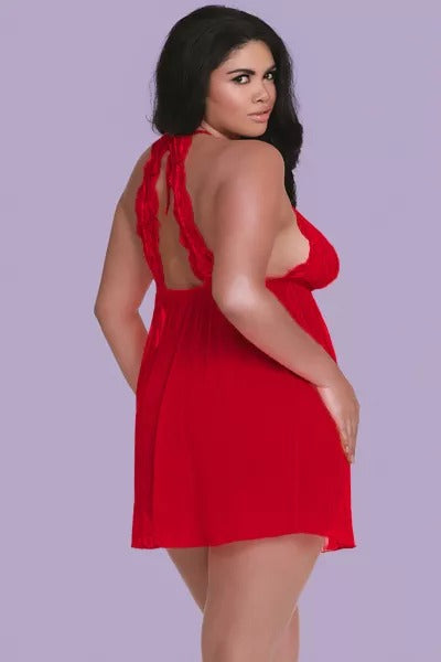 Red Plus Size Stretch Mesh and Lace High Neck Babydoll