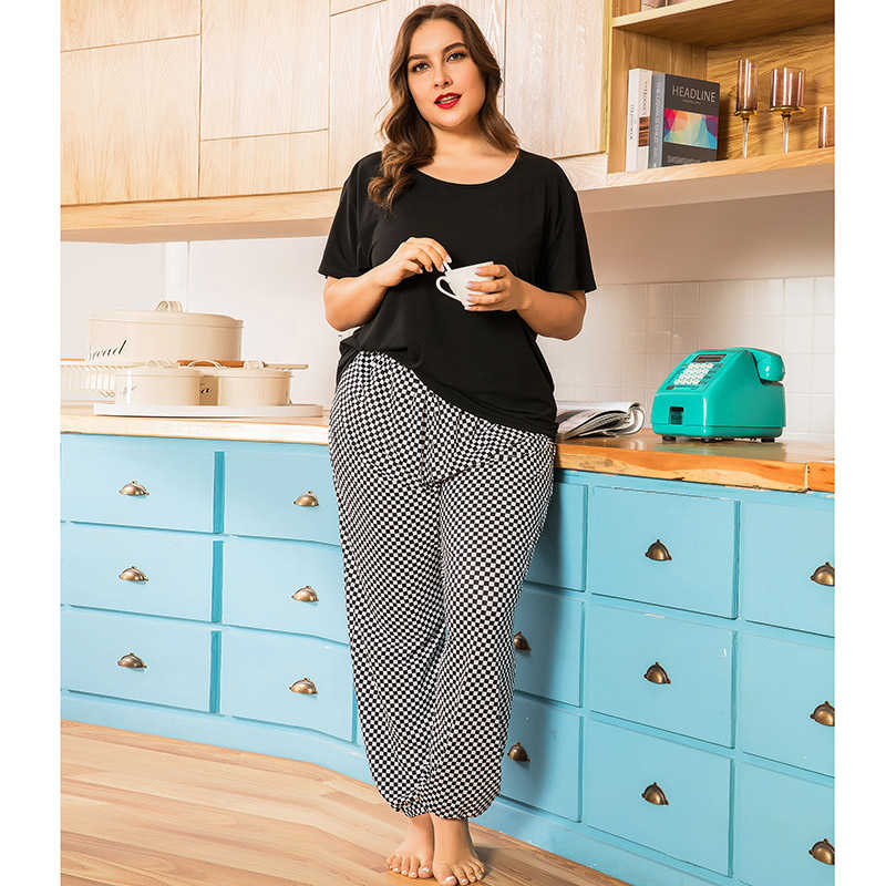 Striped printed loose short sleeve trousers and pajamas