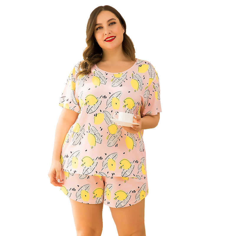 yellow print T-shirt and shorts home wear two piece suits