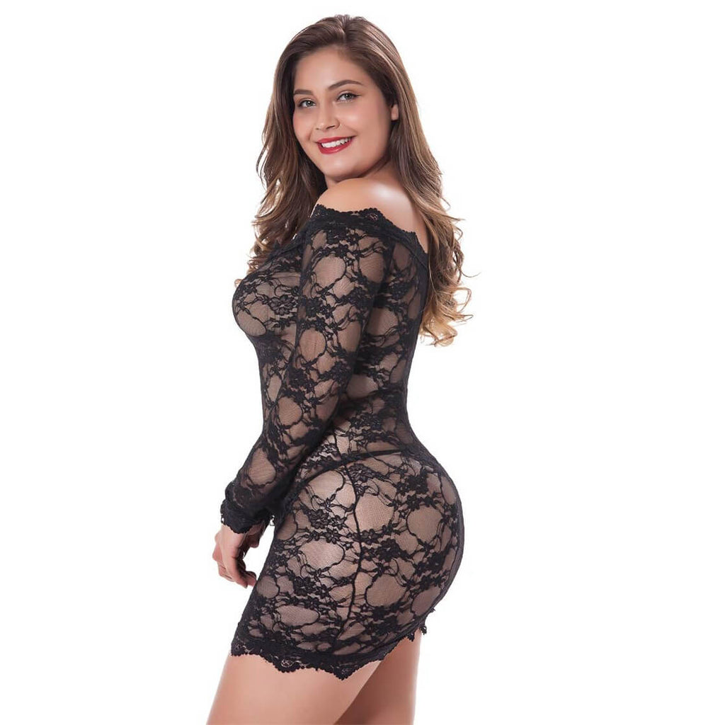 Red Plus Size Sexy Lingerie Lace Badydoll Off Shoulder Sleepwear Pajamas