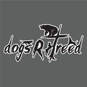 dogsRtreed Logo BEAR DECAL - Black With White Outline - 2 Size Choices