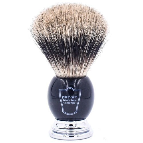Parker Black & Chrome Handle Pure Badger Shaving Brush and Stand