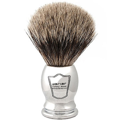 Parker Chrome Handle Pure Badger Shaving Brush & Stand