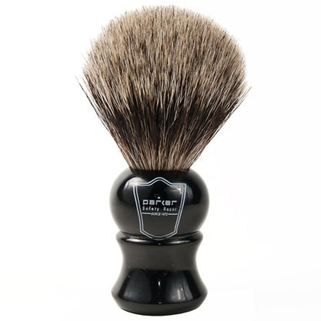 Parker Classic Ebony Handle Pure Badger Shaving Brush and Stand