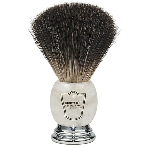 Parker Ivory Marbled Handle Black Badger Shaving Brush and Stand