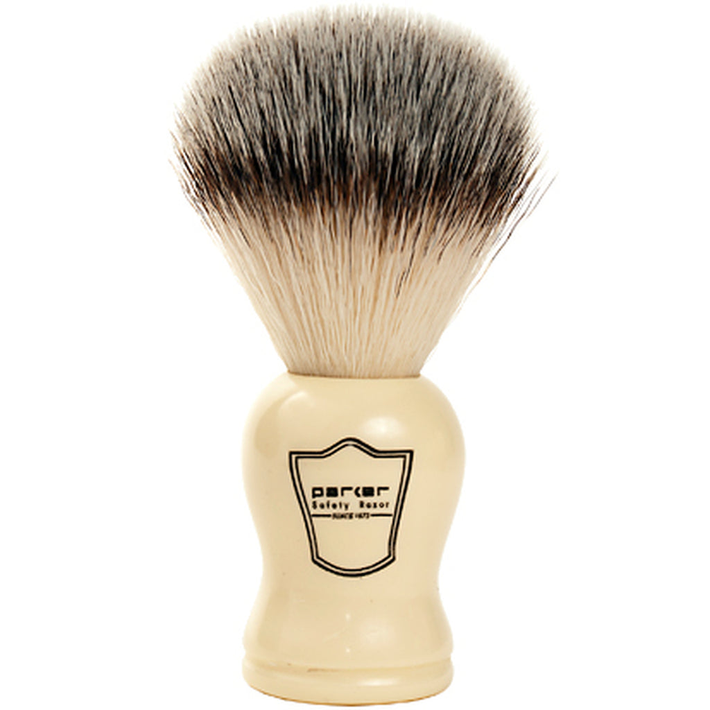Parker Ivory Handle Synthetic Shaving Brush and Stand